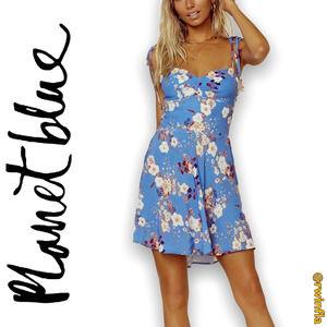 Planet Blue Nola Mini Dress Fit Flare Smocked Back